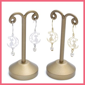 Gift Show Crescent Moon Pearl Pierced Earring