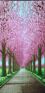 Cherry Blossom Trees Japanese Noren Curtain Long