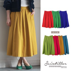 New Color 2018 S/S Cotton Twill Tuck Skirt