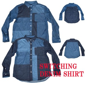 Continuation 2018 S/S Denim Block Switching Button Down Shirt
