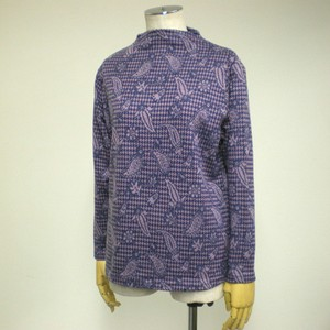 A/W Paisley Houndstooth Pattern Bottle Neck Long Sleeve Pullover