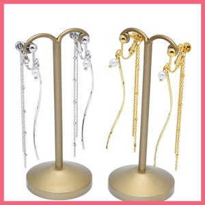 Gift Show Wave Stick Pearl Double Chain Earring