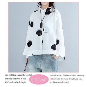 Dot Design Stand Color Blouse
