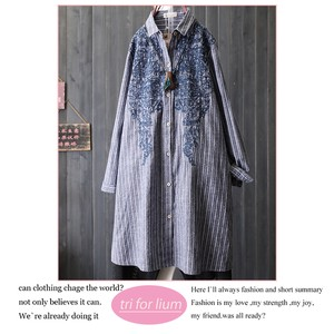 Embroidery Design Stripe Long Shirt