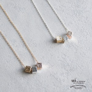 Necklace Geometry Square Cube Gold Silver Accessory