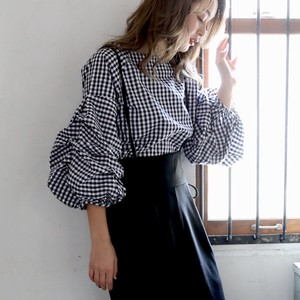 S/S Gingham Check Blouse Top