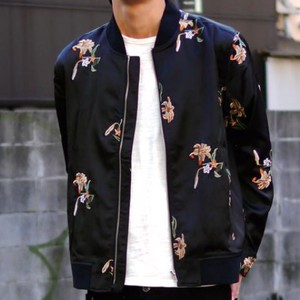 2018 S/S Revo. Flower Repeating Pattern Embroidery Nylon Blouson Stocks