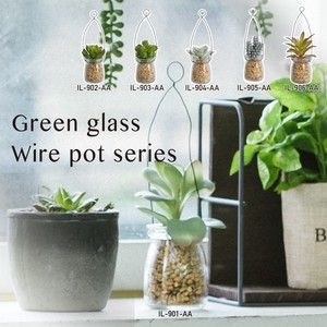 Plant Convenient Space Green Glass Wire Pot