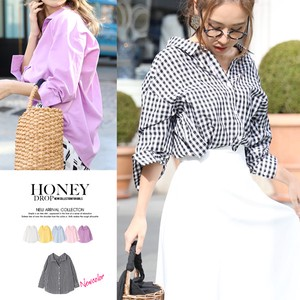 S/S Design Over Shirt Top Gingham Check