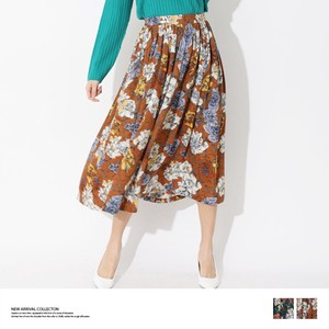 S/S Floral Pattern Flare Skirt