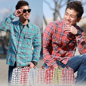 2018 S/S Men's Bleach Processing Dyeing Checkered Shirt