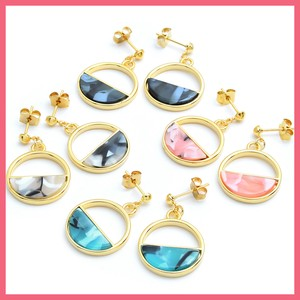 Half Mix Color Ring Pierced Earring