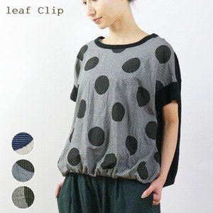 2018 S/S Dot Plain Switching Balloon Pullover Natural Leisurely