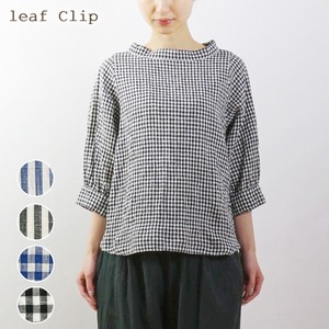2018 S/S Linen Stripe Checkered Stand Color Blouse Natural