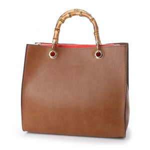 Bamboo Handle Shoulder Attached Square Bag