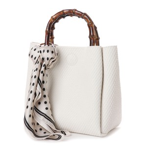 Scarf Attached Bamboo Handle Bag