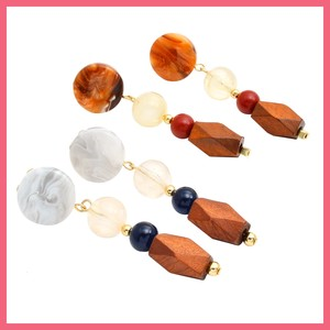 Marble Circle Wood Beads Earring