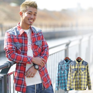 2018 S/S Men's Bleach Processing Denim Switching Checkered Shirt