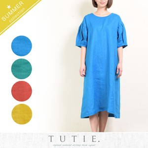 French Linen Solid Color Gather One-piece Dress