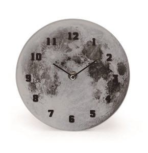 Cosmic Glass Clock Table Moon