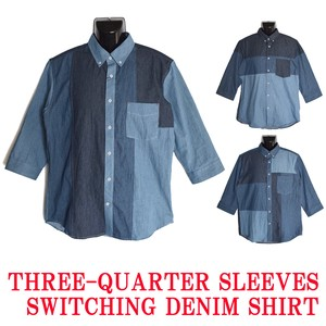 2018 S/S Denim Panel Switching Cropped Button Down Shirt