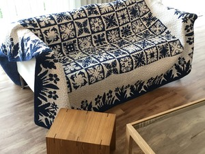 Flower Navy Quilt Hawaiian Vintage Design Modern Botanical
