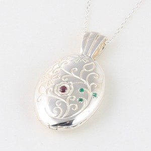 Ruby Emerald Pendant Oval Silver Chain