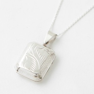 Silver Pendant Square Stainless Chain Stamp