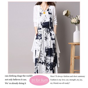 Paint Print Material One-piece Dress Long Cardigan