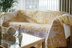 Flower Yellow Quilt Hawaiian Vintage Design Modern Botanical
