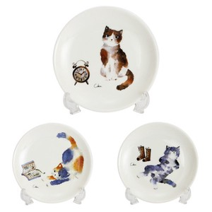 Porcelain 1Pc Cat Decoration Plate 3 Types