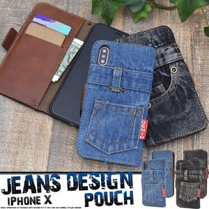Smartphone Case iPhone Design Notebook Type Case Denim Design Notebook Type Case