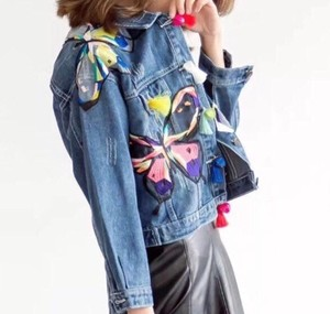 2018 S/S Ladies Butterfly Motif Denim Jacket