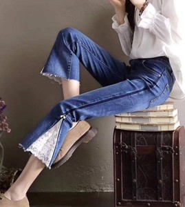 2018 S/S Ladies 8/10Length Lace Stretch Denim Pants