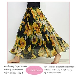 Repeating Pattern Print Design Chiffon Material Flare Skirt