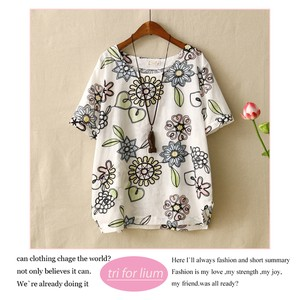 Embroidery Print Design Cotton Pullover