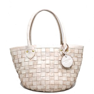 zucchero filato Leather White Mesh Handbag