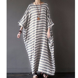 Natural Leisurely Border Dolman Long One-piece Dress