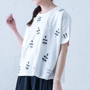 2018 S/S Half Length Hand-Painted Leaf Dolman T-shirt