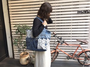 Denim Pants Lace Tote