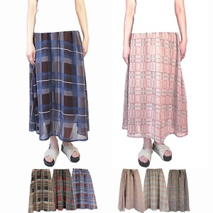 Checkered Long Skirt Chiffon Layard Sheer