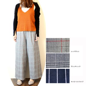 wide pants Checkered Stripe Lining Ankle