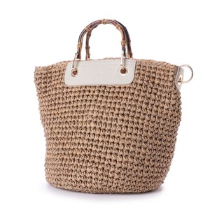 Bamboo Handle Hand Knitting Tote Bag