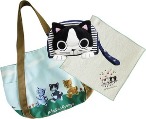 MARUNO SANPO Cat Gift Set Balloon Bag Face Pouch Towel Handkerchief