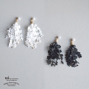 Pierced Earring Lace Rhinestone White Black Accessory