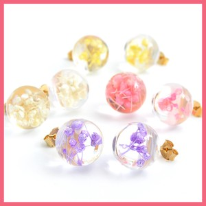 Dry Flower Clear Ball Pierced Earring