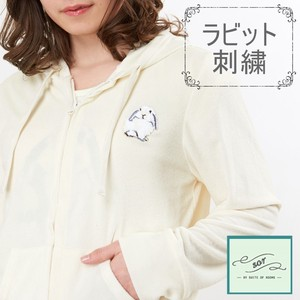Rabbit Embroidery Pile Hoody Loungewear Room Room