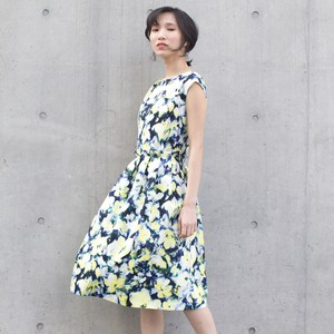 Ottoman Watercolor Floral Pattern Print Tuck One-piece Dress