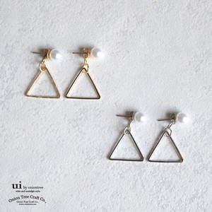 Pierced Earring Triangle Watermark Triangle Pearl Long Geometry