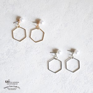 Pierced Earring Hexagon Watermark Hexagon Pearl Long Geometry